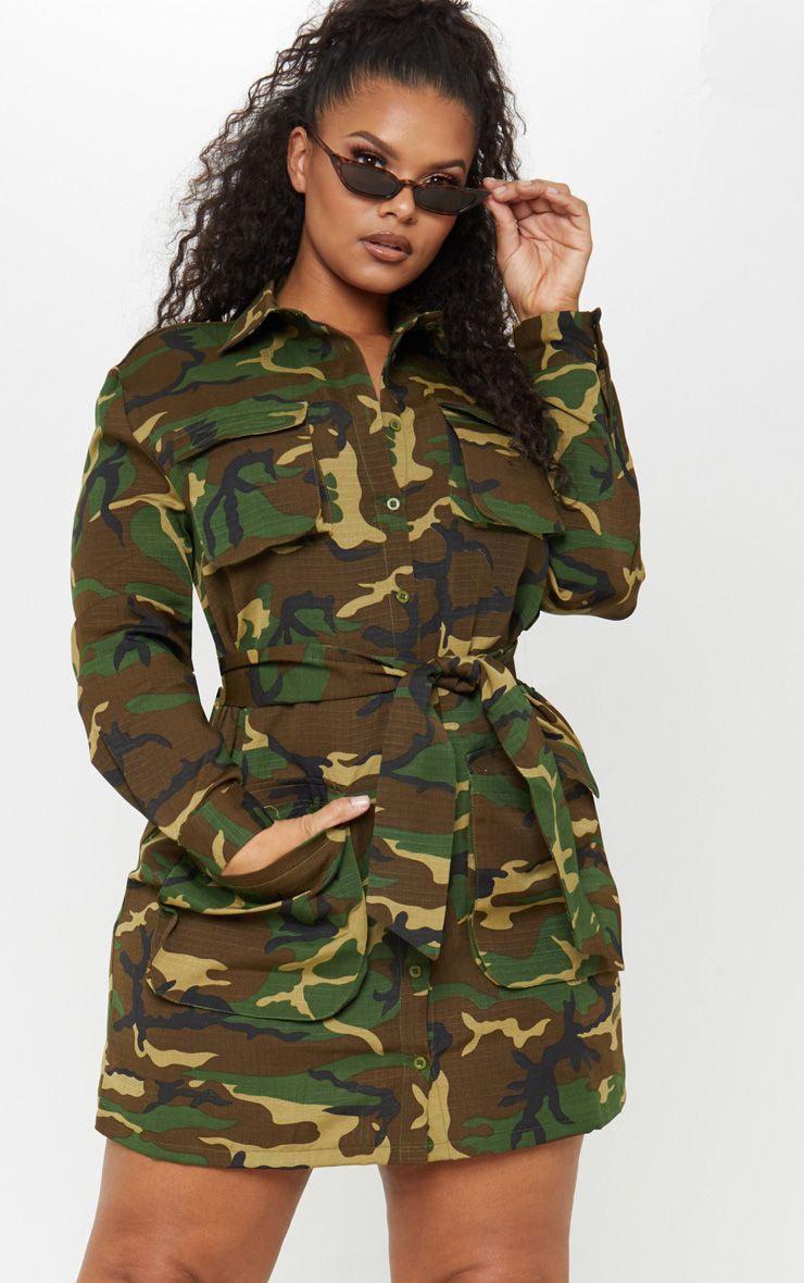 PLT Plus - Robe chemise utilitaire camouflage à détail ceinture 1