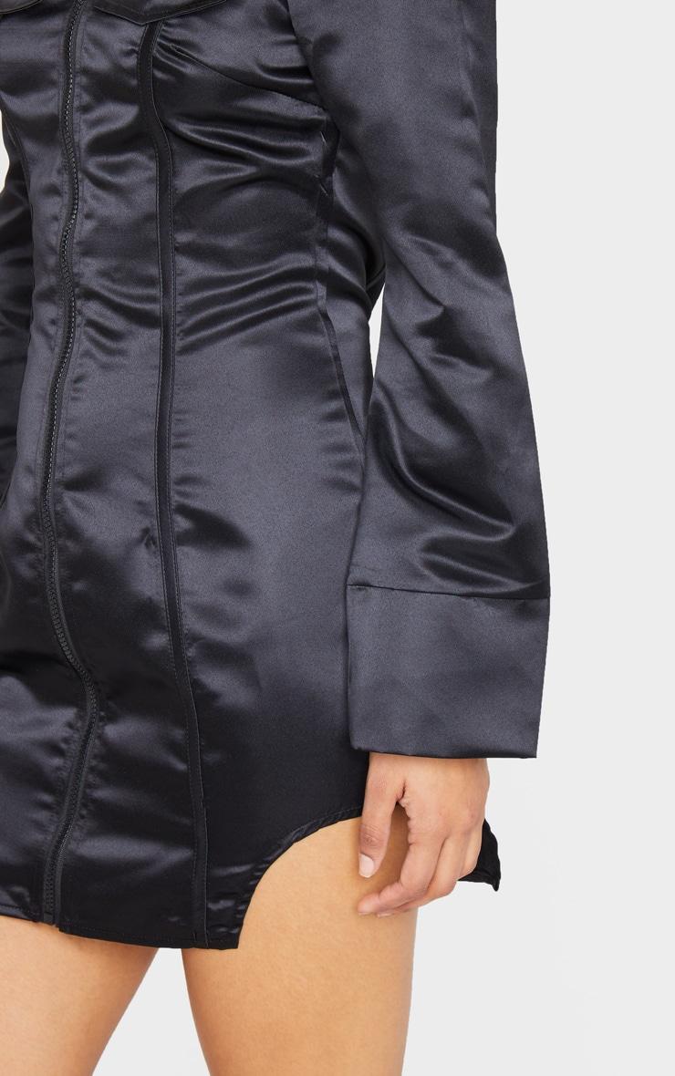 Black Woven Binding Detail Zip Front Bardot Bodycon Dress 4
