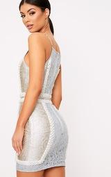 ee7884d4bce Luci Pale Blue Premium High Neck Jacquard Lace Panel Mini Dress image 3