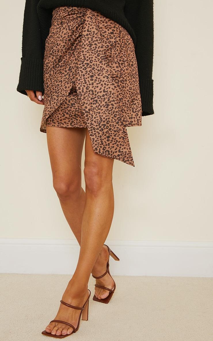 Brown Leopard Print Drape Front Mini Skirt 2