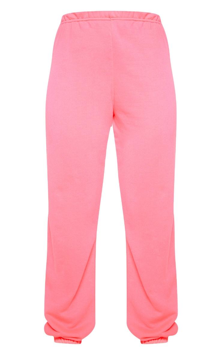 Neon Pink Basic Cuffed Hem Jogger 3