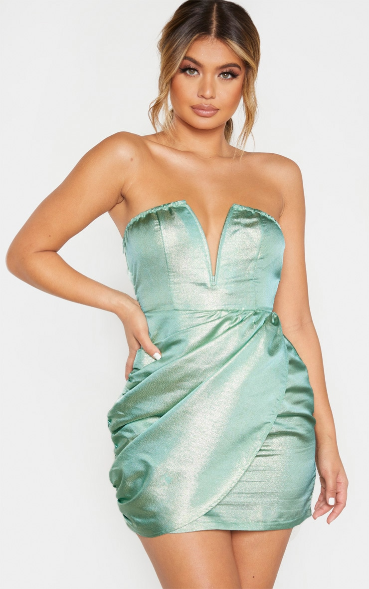 Mint Textured Glitter V Bar Bandeau Ruched Bodycon Dress 1