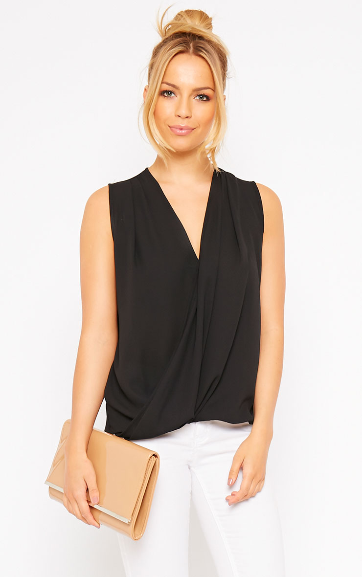 Maddox Black Wrap Chiffon Top 1