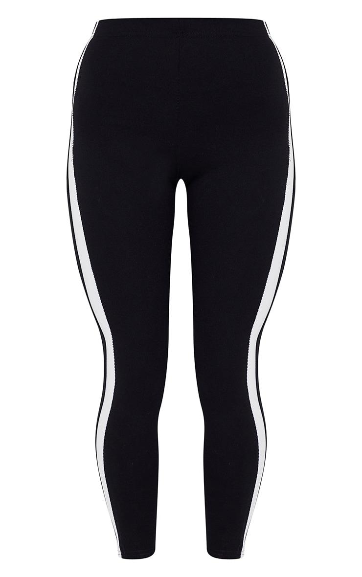 Black High Waisted Side Stripe Leggings 5