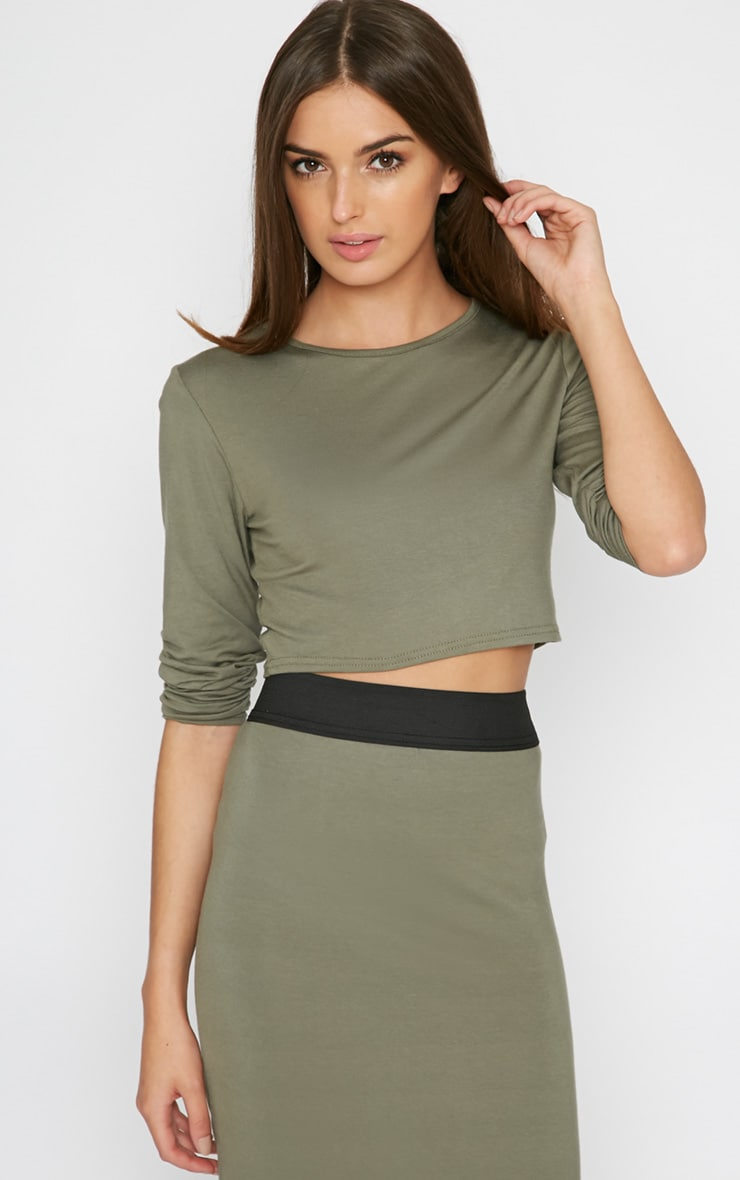 Una Khaki Long Sleeved Crop Top  1