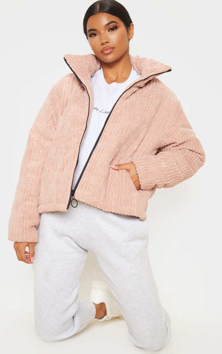 Rose Ribbed Textured Oversized Puffer 4