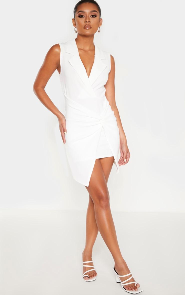 White Sleeveless Twist Front Plunge Blazer Dress 4
