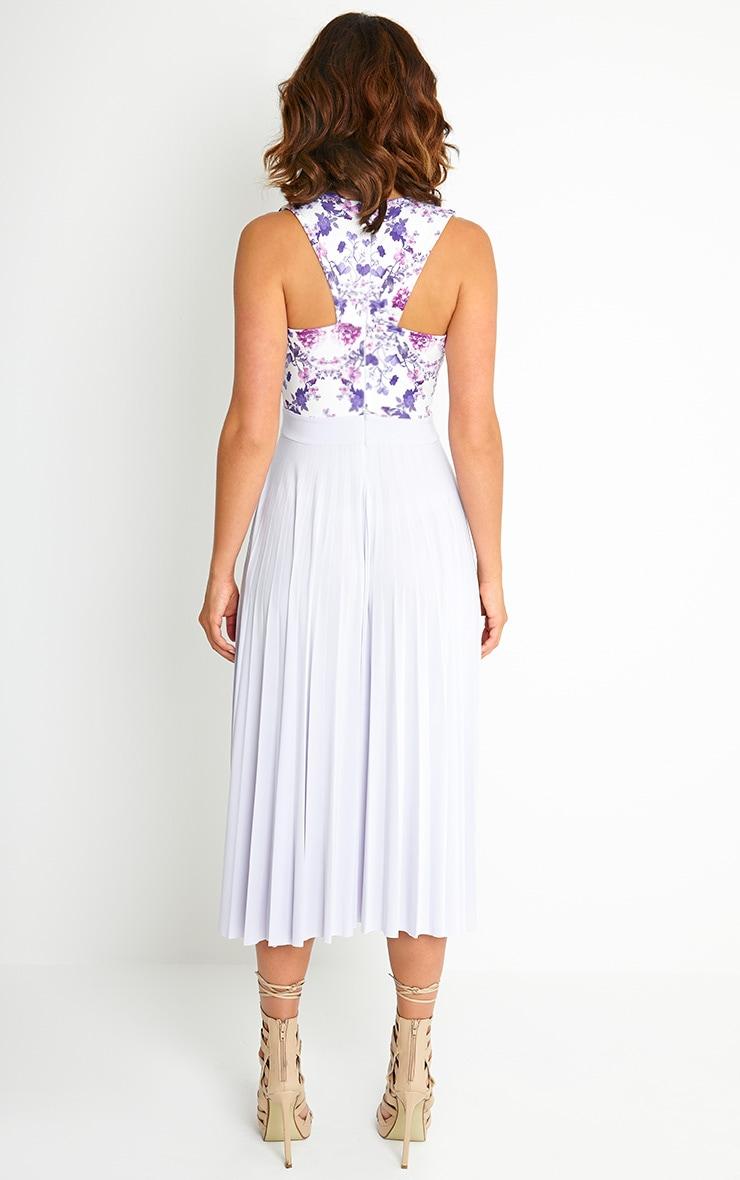 Rebekah Lilac Floral Pleated Midi Dress 2