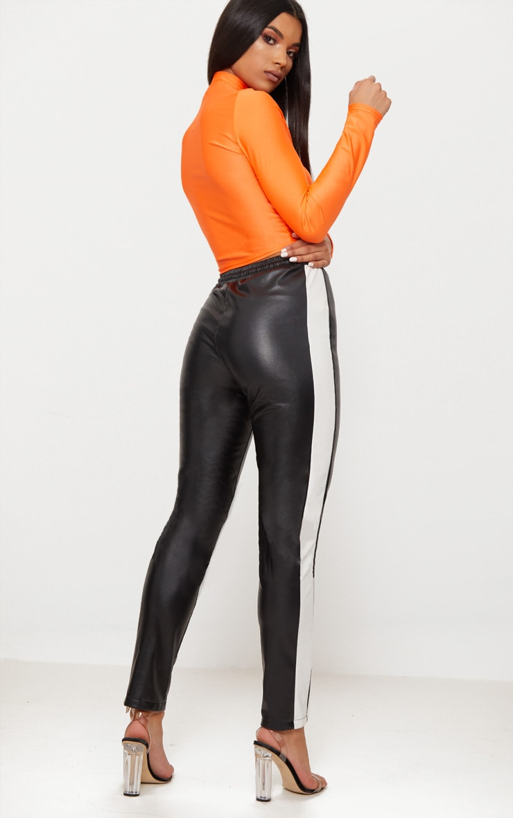 Bright Orange Disco Zip Front High Neck Long Sleeve Crop Top   2