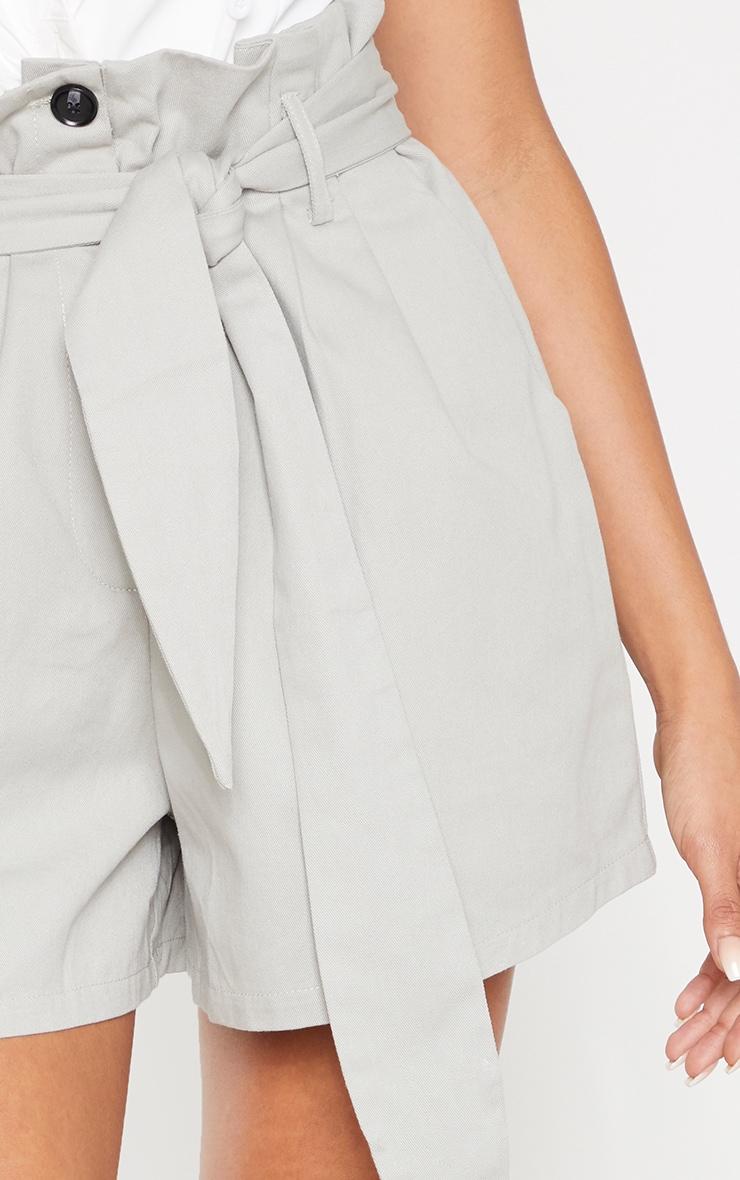 Grey Woven Tie Waist Pleat Detail Short  6