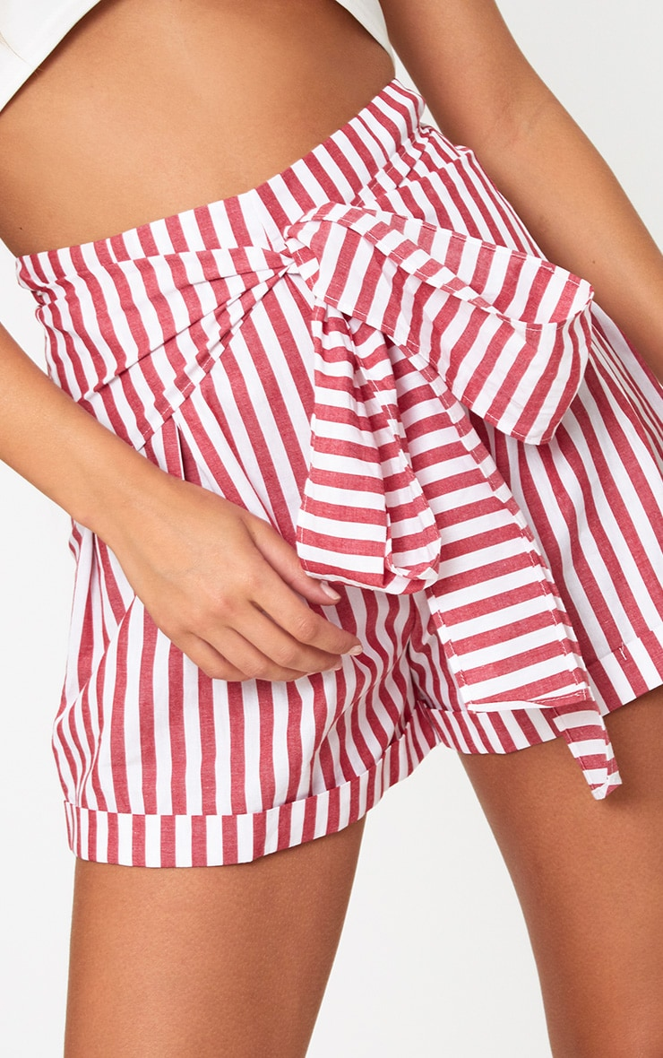Red Tie Waist Stripe Shorts 6