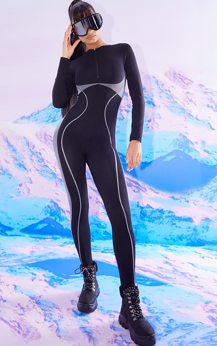 BLACK SEAMLESS SKI LONG SLEEVE ZIP UP ALL IN ONE