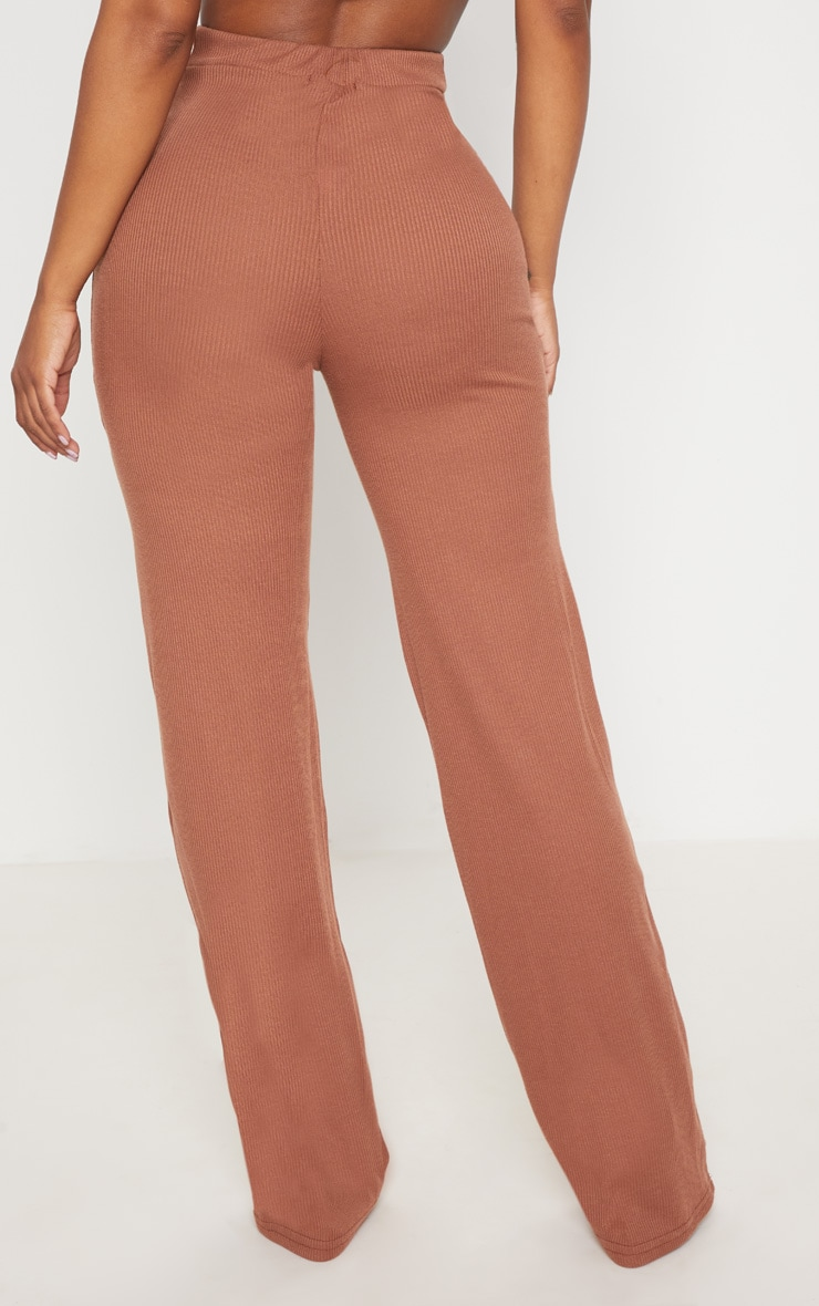 Shape Chocolate Ribbed Wide Leg Trousers 4