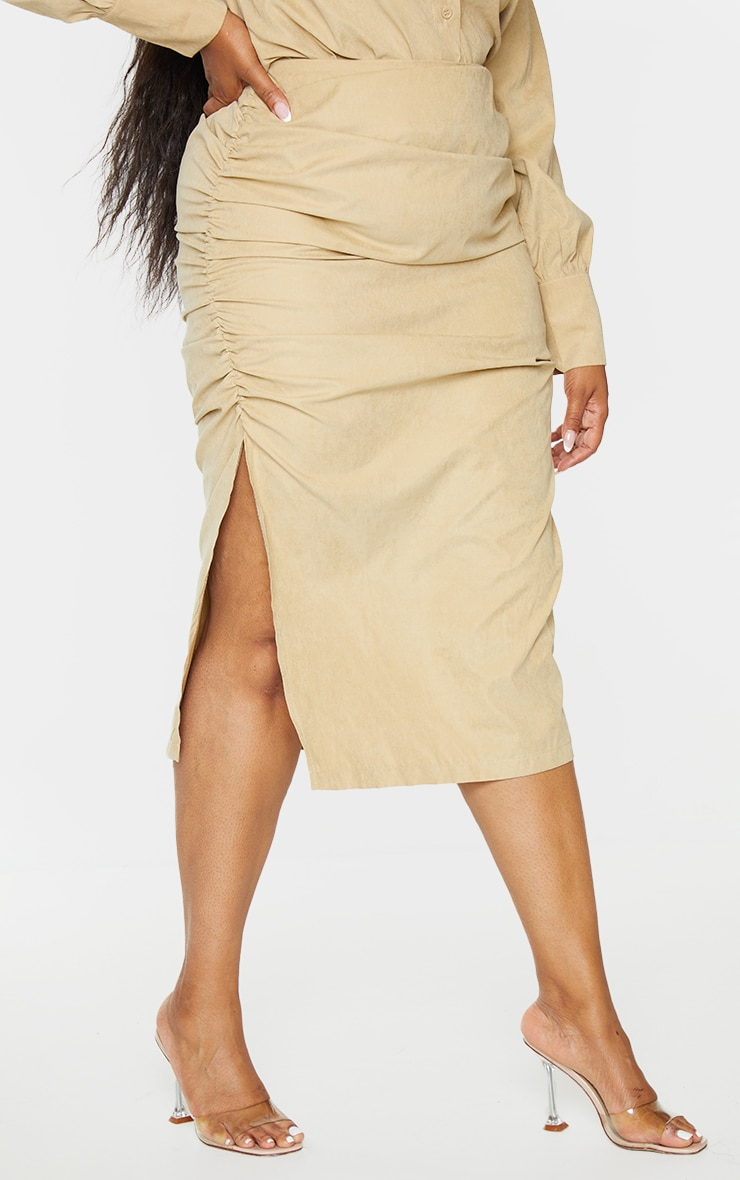 Plus Stone Suede Textured Ruched Midi Skirt 2