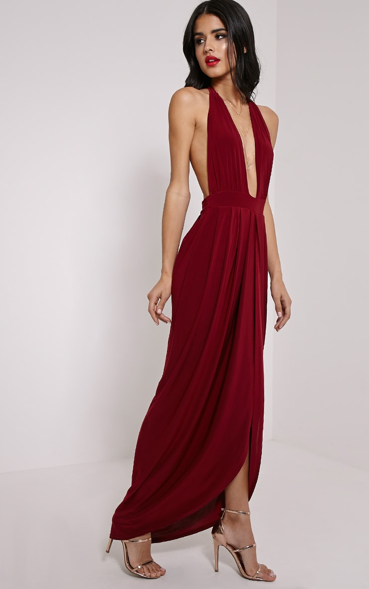 Biba Burgundy Halterneck Maxi Dress 1