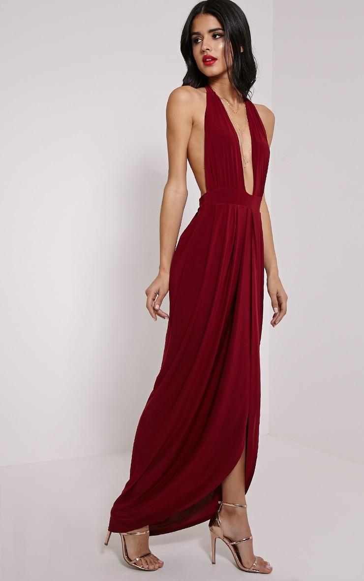 Biba Burgundy Halterneck Maxi Dress 1