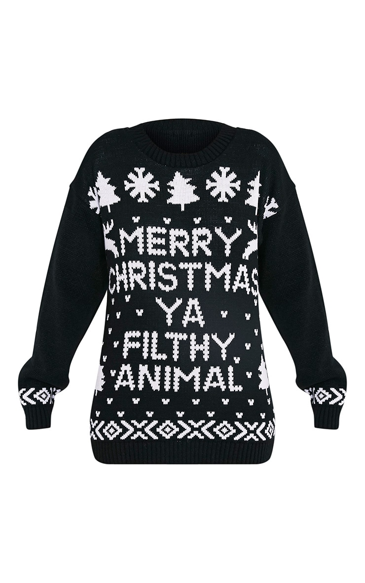 Merry Christmas Ya Filthy Animal Black Christmas Jumper 3