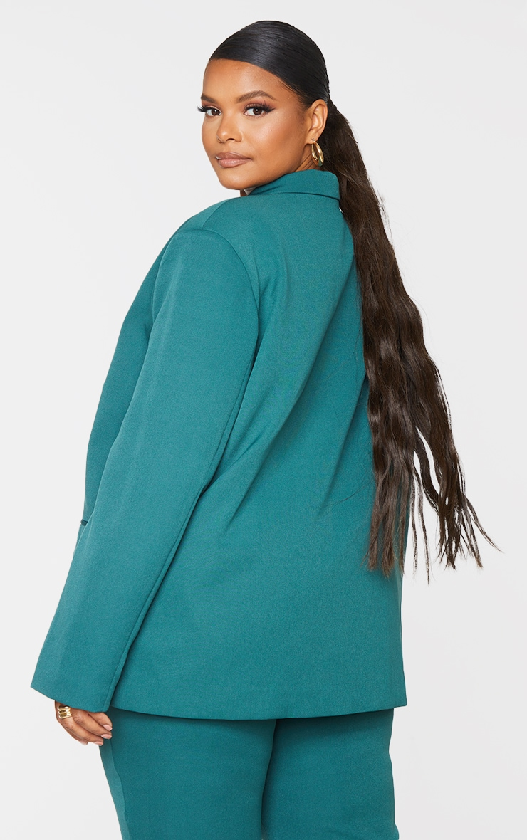 Plus Teal Double Breasted Oversized Blazer 2