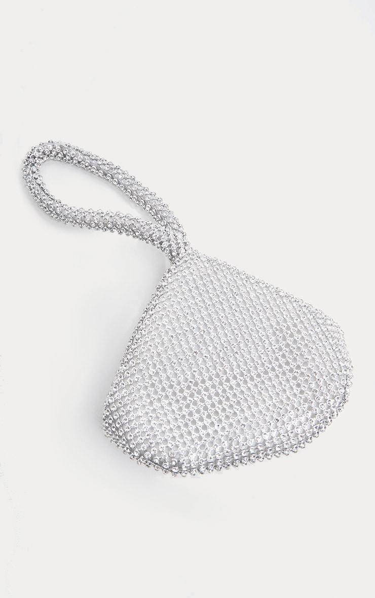 Silver Diamante Chainmail Pouch 3