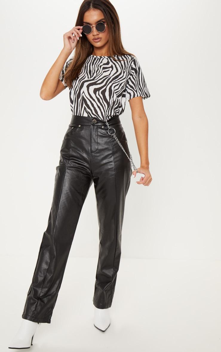 Black Faux Leather Straight Leg Pants 1