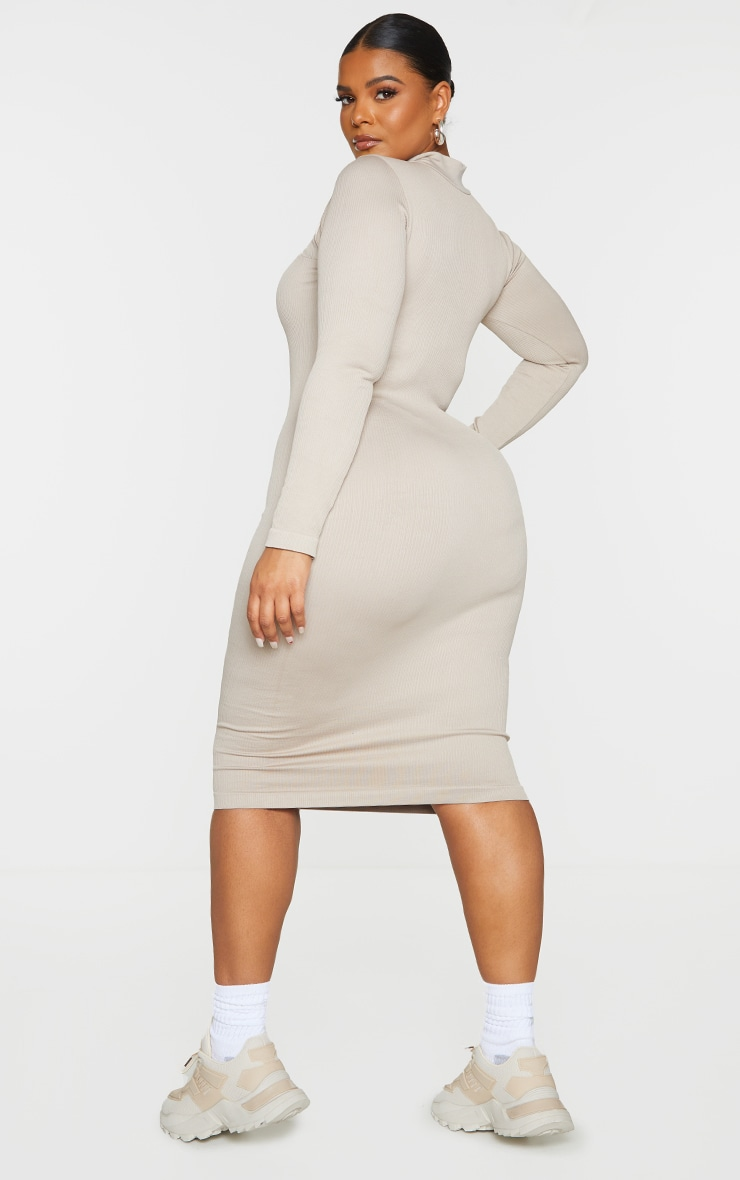 Plus Stone Structured Contour Rib High Neck Midi Dress  2