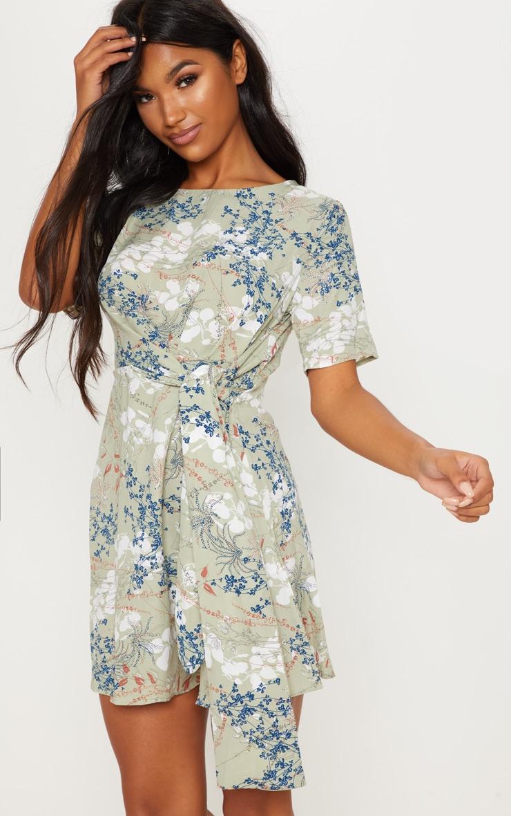6ba90de5e3 Sage Green Knotted Floral Print Dress | PrettyLittleThing