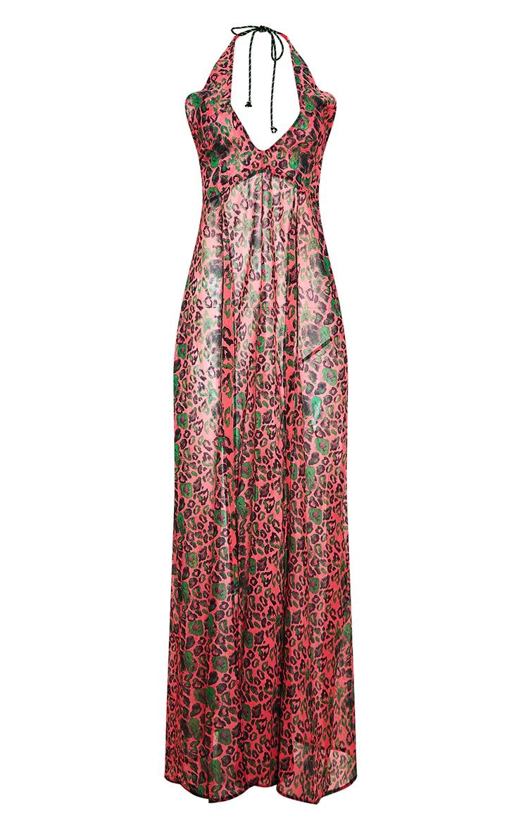Pink Leopard Neon Rope Maxi Dress 3