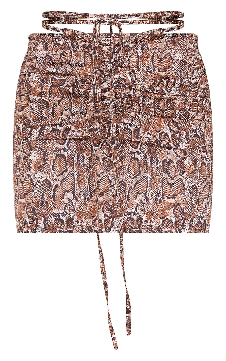 Brown Snake Ruched Front Tie Waist Mini Skirt 6