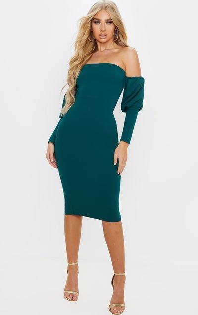 Emerald Green Puff Sleeve Bardot Midi Dress