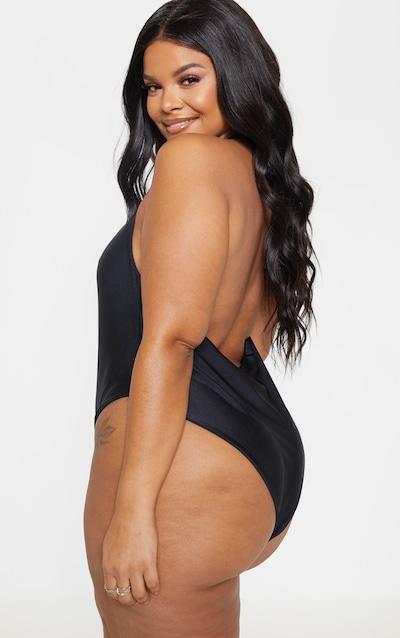 Plus Black Halterneck Backless Swimsuit