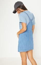 8b9370ea1d Mid Wash Zip Front Denim Pinafore Dress image 2