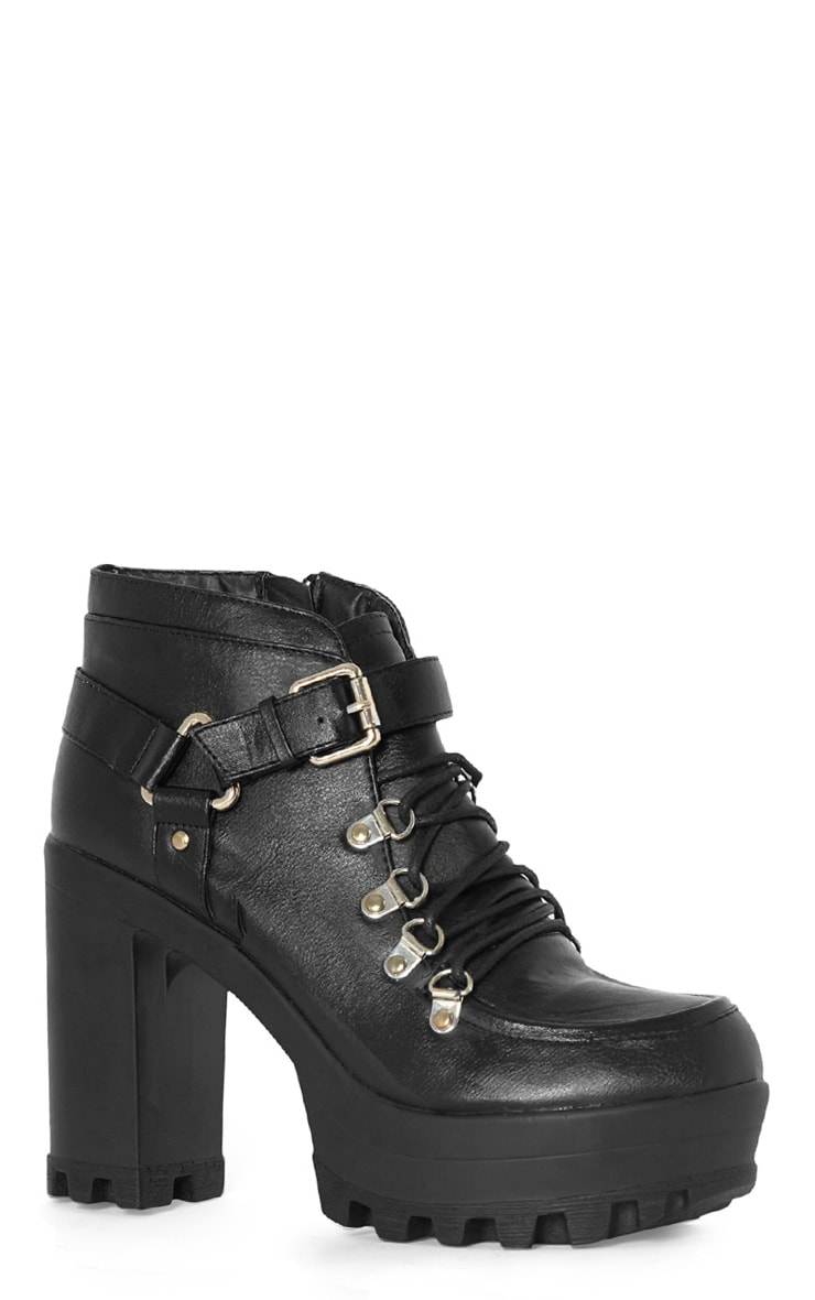 Celestia Black Cleated Sole Lace Up Boot  4