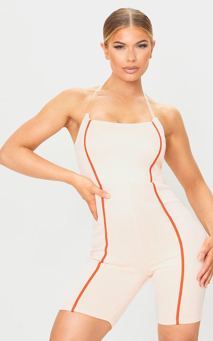 Nude Clear Strap Contrast Binding Detail Unitard 3