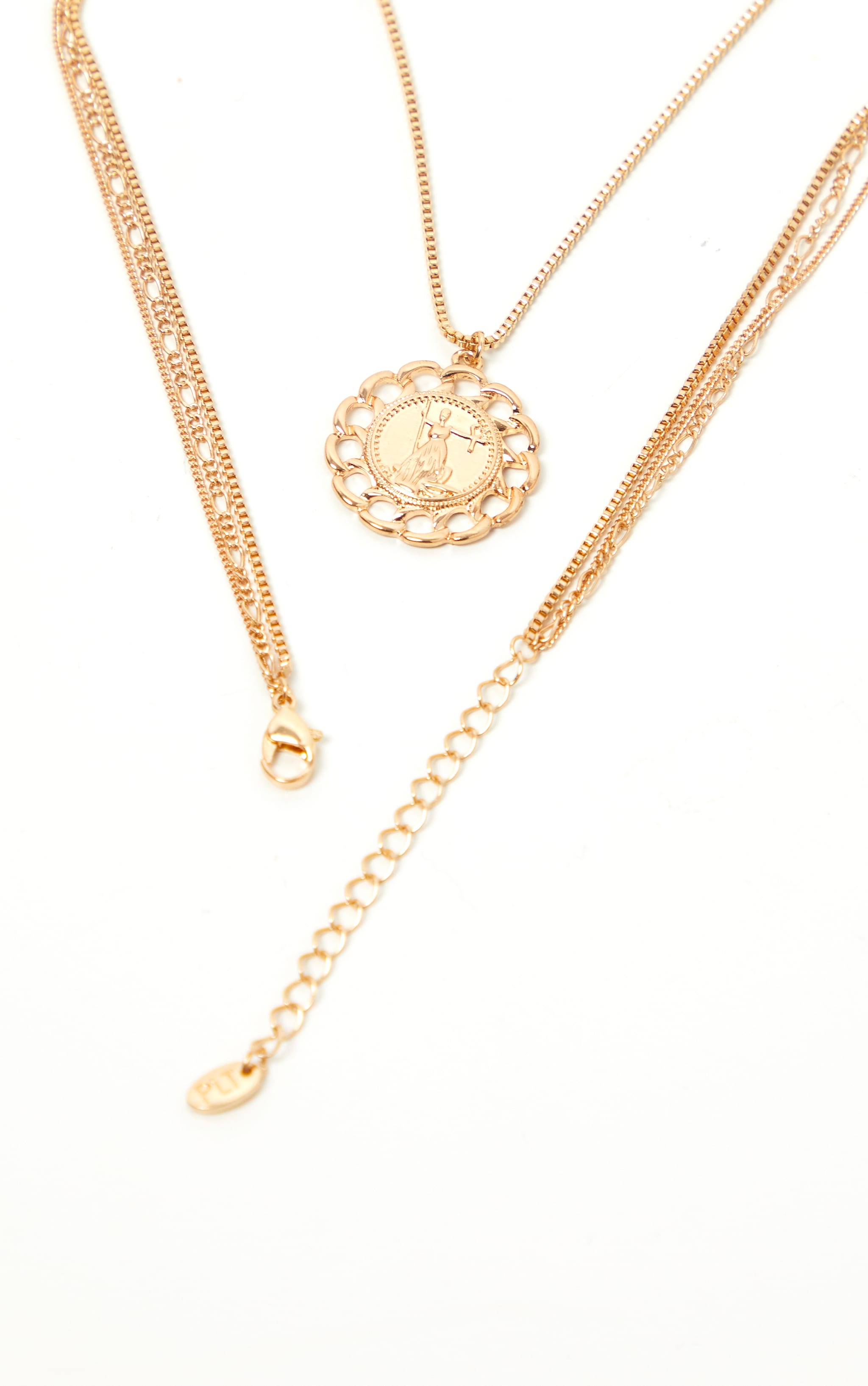 Gold Coin Cross And Chain Disc Multi-Layer Necklace 4