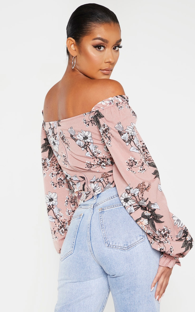 Pink Floral Woven Bardot Cropped Blouse 2