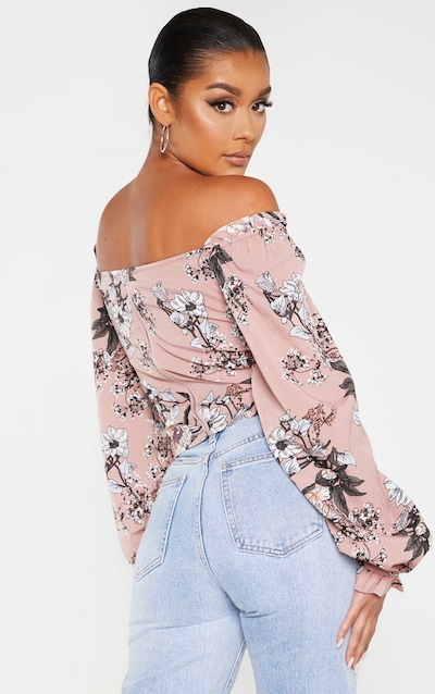 Pink Floral Woven Bardot Cropped Blouse