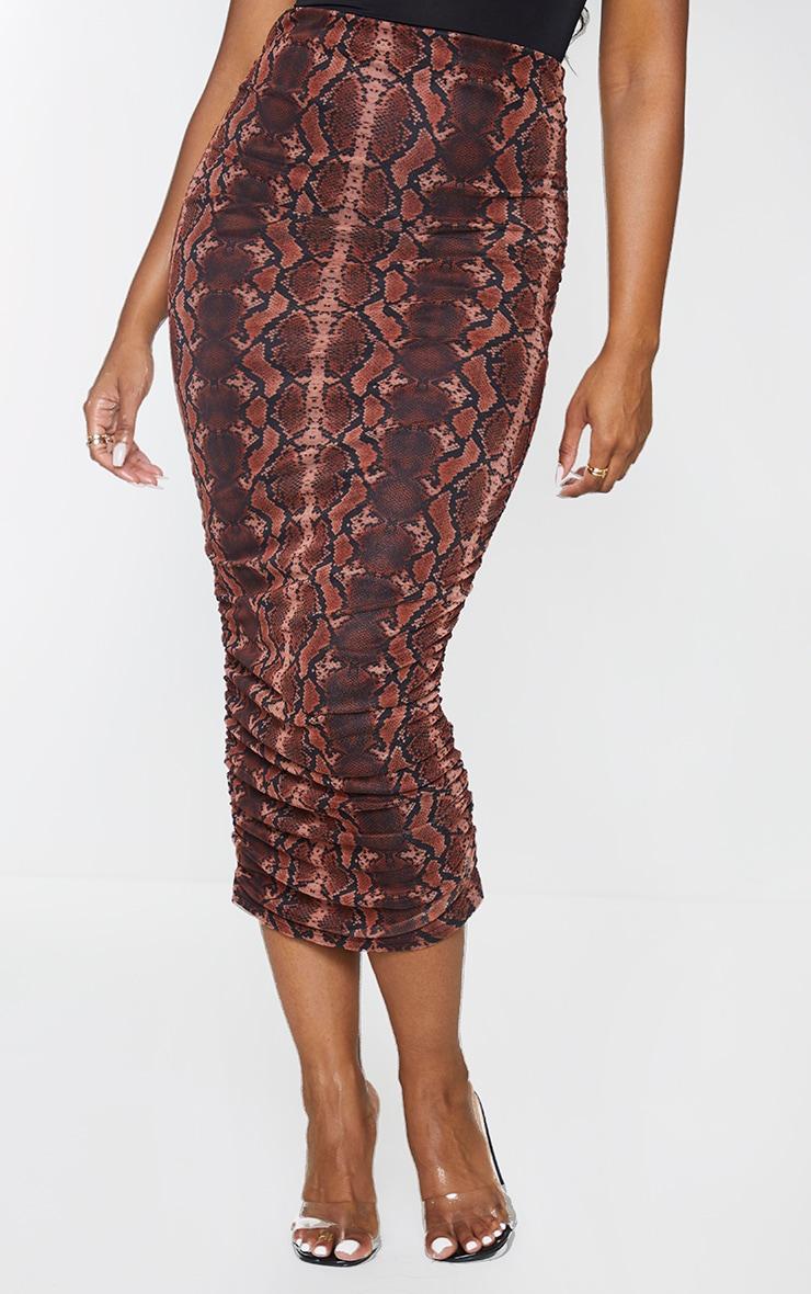 Rust Snake Mesh Ruched Midi Skirt 2
