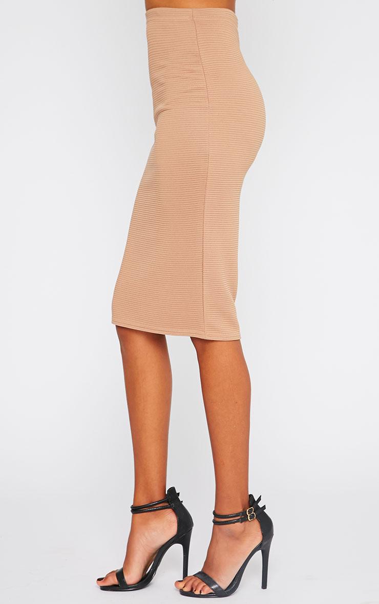Britney Camel Ribbed Midi Skirt 3