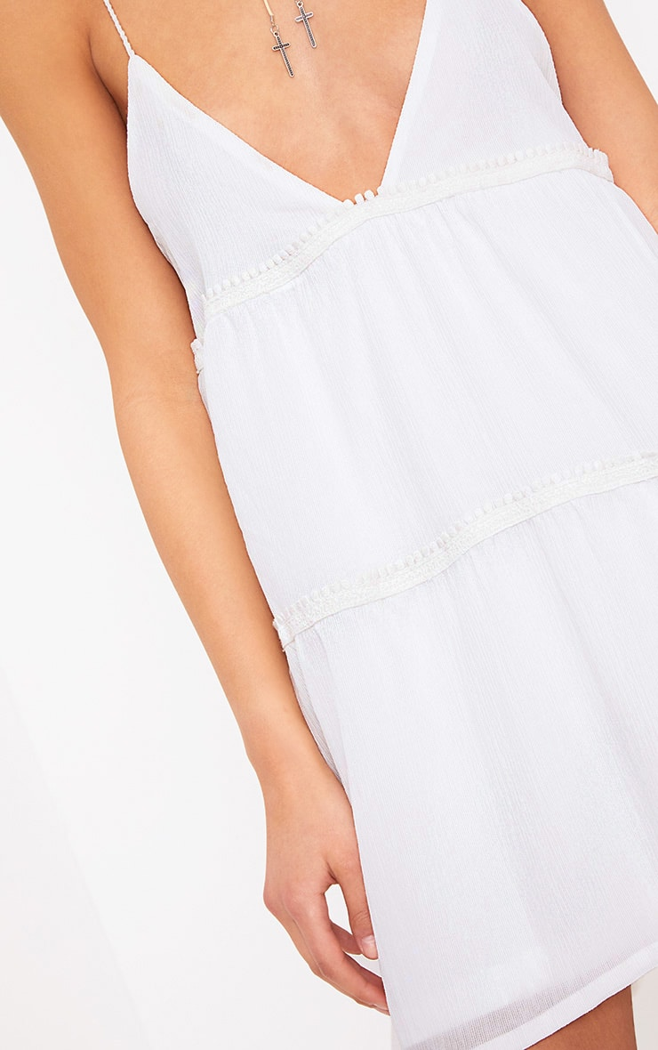 White Cheese Cloth Strappy Frill Shift Dress 5