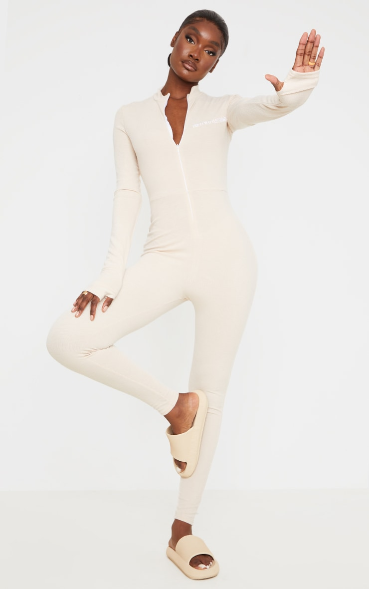 PRETTYLITTLETHING Tall Stone Ribbed Jumpsuit 3