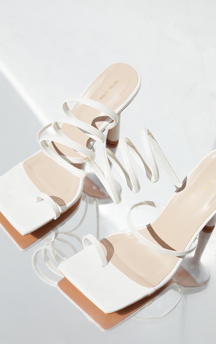 White PU Toe Loop Spiral High Circle Heeled Sandals 3