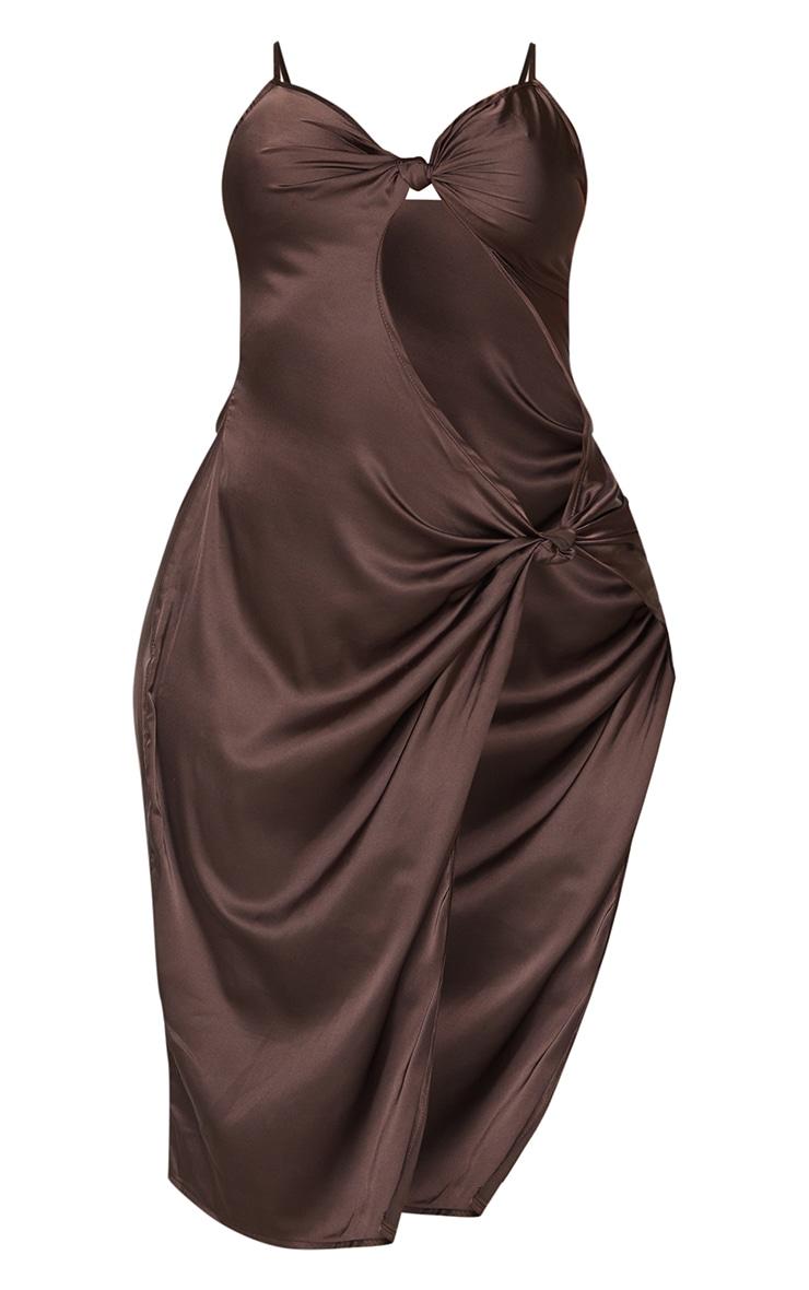 Shape Chocolate Brown Satin Knot Detail Split Front Midi Dress 5