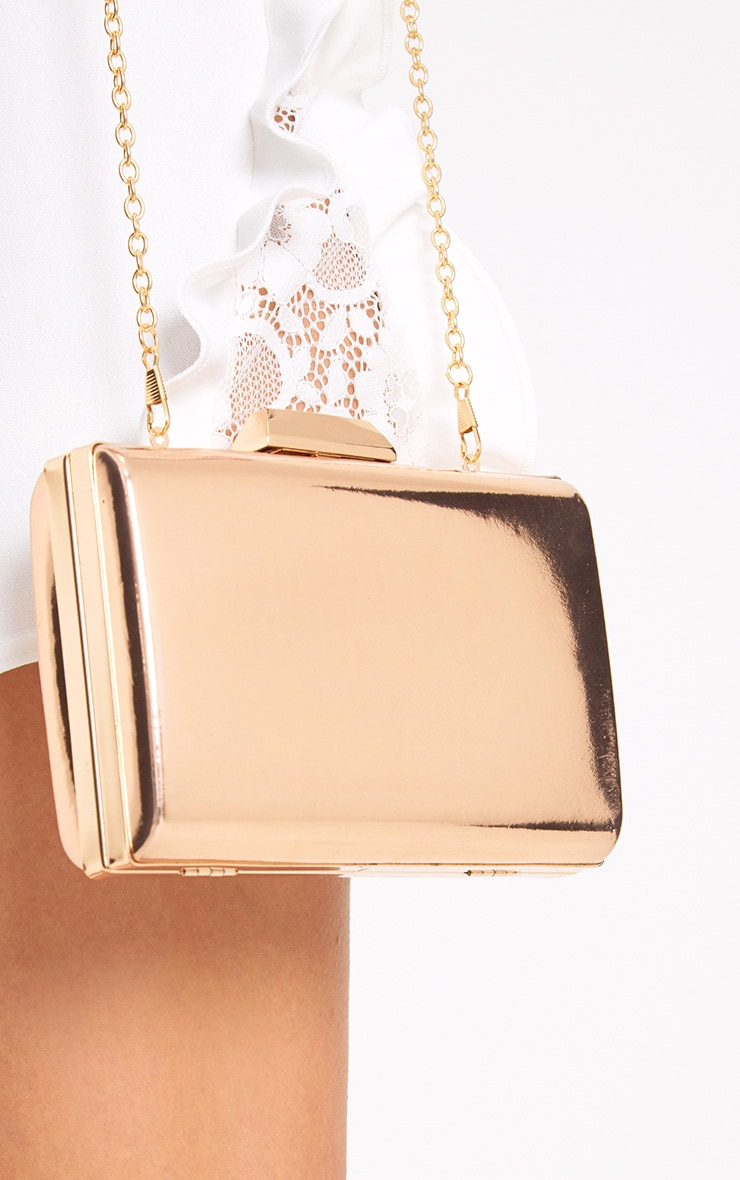 Rose Gold Metallic Clutch 2