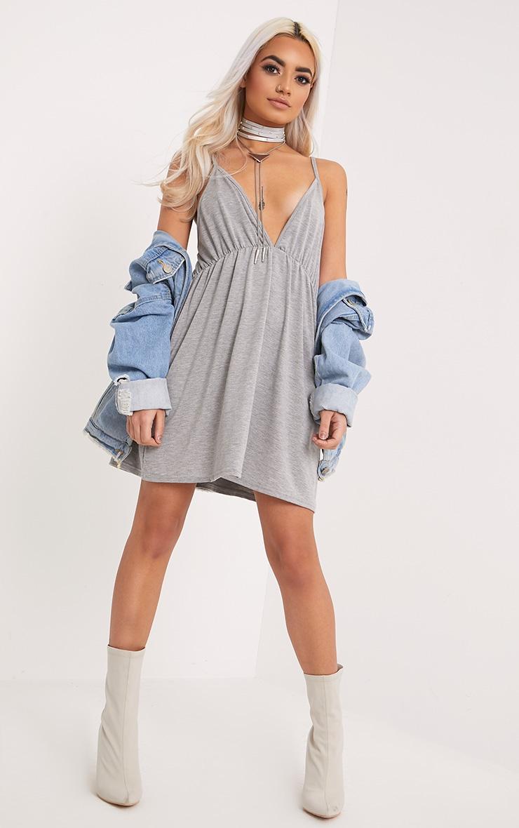 Corinia Ruched Grey Marl Jersey Swing Dress 4