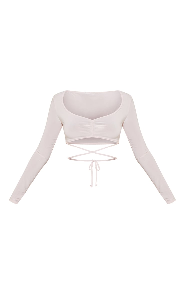 Nude Slinky Tie Front Long Sleeve Crop Top 5