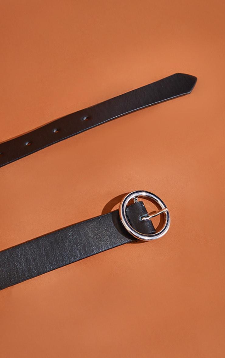 Black Basic Circle Buckle Belt 3