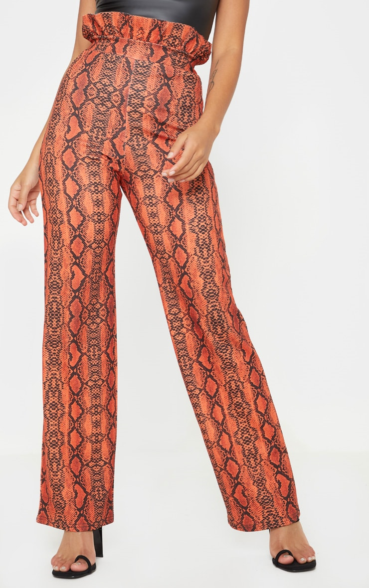 Petite Neon Orange Snake Print Frill High Waist Trousers 2