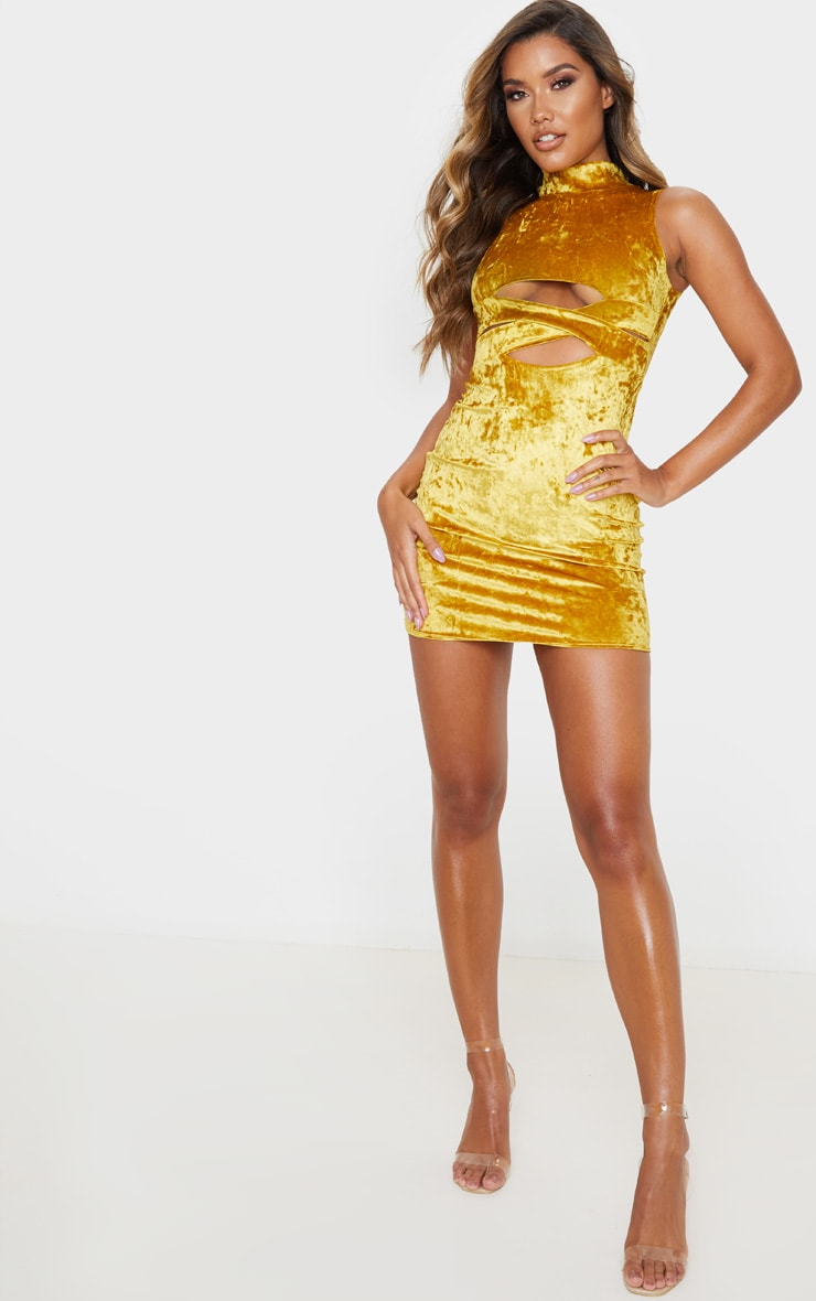 Mustard Crushed Velvet Cross Front Bodycon Dress 3