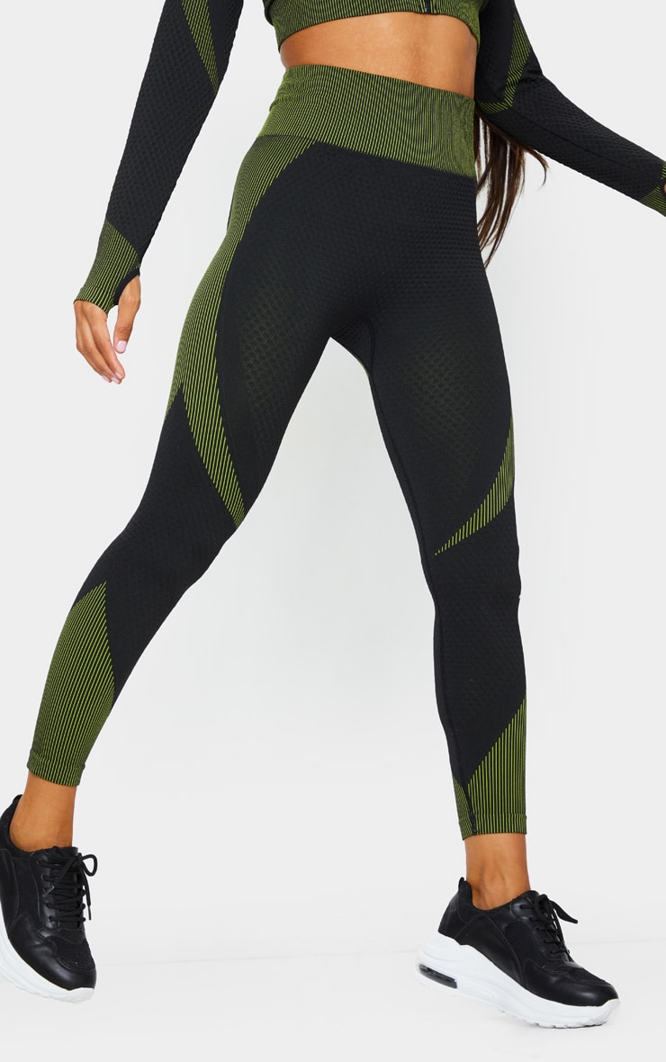 Black Multi Textured Gym Leggings 2