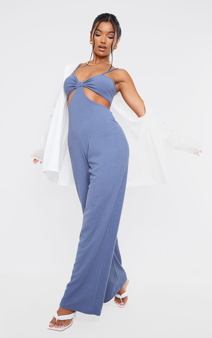 Blue Rib Strappy Cut Out Open Back Jumpsuit 3